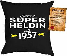 Kissen zum 60. Geburtstag Geschenkidee Kissen mit Füllung Super Heldin seit 1957 Polster zum 60 Geburtstag für 60-jährige Dekokissen mit Urkunde