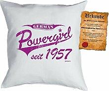 Kissen zum 61. Geburtstag Geschenkidee Kissen mit Füllung German Powergirl seit 1957 Polster zum 61 Geburtstag für 61-jährige Dekokissen mit Urkunde