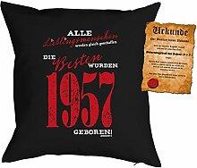 Kissen zum 61. Geburtstag Geschenkidee Kissen mit Füllung Lieblingsmensch 1957 geboren Polster zum 61 Geburtstag für 61-jährige Dekokissen mit Urkunde