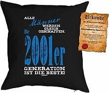 Kissen zum Geburtstag: Männer werden gleich geschaffen, 2001er Generation... - Geschenk Set mit gratis Urkunde - Zierkissen, Couchkissen - schwarz