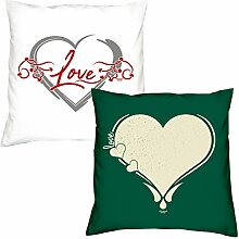 Kissen zum Valentinstag Love Herz Love Herz Geschenkidee, Geburtstagsgeschenk, im 2er Pack für Sie und Ihn