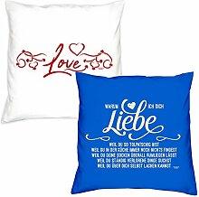 Kissen zum Valentinstag Warum ich Dich liebe Love Geschenkidee, Geburtstagsgeschenk, im 2er Pack für Sie und Ihn