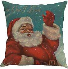 Kissenbezüge Longra 45cm*45cm Baumwolle Leinen Weihnachten Deko Kissenbezug Sofa Bett Auto Home Decor Festival Kissenhülle (C)