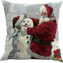 Kissenbezüge Longra 45cm*45cm Baumwolle Leinen Weihnachten Deko Kissenbezug Sofa Bett Auto Home Decor Festival Kissenhülle (F)