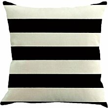 Kissenbezüge Longra 45cm * 45cm Streifen Malerei Leinen Platz Kissenbezug Throw Kissenhülle Sofa Home Dekokissen (Black)