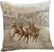 Kissenbezüge Longra Weihnachten Elch drucken färben Sofa Bett Home Decor Kissen decken Kissenhülle (45cm*45cm) (A)