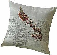 Kissenbezüge Longra Weihnachten Elch drucken färben Sofa Bett Home Decor Kissen decken Kissenhülle (45cm*45cm) (C)