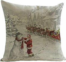 Kissenbezüge Longra Weihnachten Elch drucken färben Sofa Bett Home Decor Kissen decken Kissenhülle (45cm*45cm) (B)