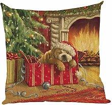 Kissenbezüge Longra Weihnachten färben Sofa Bett Home Decor Leinen Kissen Kissen Deckung drucken Kissenbezug Kissenhülle (45cm*45cm) (E)