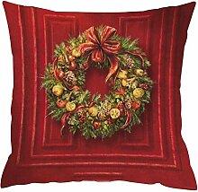 Kissenbezüge Longra Weihnachten färben Sofa Bett Home Decor Leinen Kissen Kissen Deckung drucken Kissenbezug Kissenhülle (45cm*45cm) (F)
