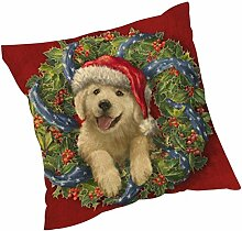 Kissenbezüge Longra Weihnachten färben Sofa Bett Home Decor Leinen Kissen Kissen Deckung drucken Kissenbezug Kissenhülle (45cm*45cm) (H)