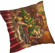 Kissenbezüge Longra Weihnachten färben Sofa Bett Home Decor Leinen Kissen Kissen Deckung drucken Kissenbezug Kissenhülle (45cm*45cm) (A)
