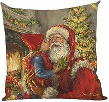 Kissenbezüge Longra Weihnachten färben Sofa Bett Home Decor Leinen Kissen Kissen Deckung drucken Kissenbezug Kissenhülle (45cm*45cm) (C)