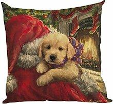 Kissenbezüge Longra Weihnachten färben Sofa Bett Home Decor Leinen Kissen Kissen Deckung drucken Kissenbezug Kissenhülle (45cm*45cm) (B)