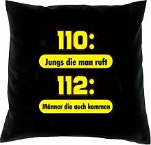 Kissenbezug - 110: Jungs die man ruft - 112: Männer die kommen -100 % Baumwolle in schwarz mit 40x40cm