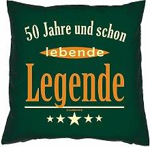 Kissenbezug - 50 Jahre und schon lebende Legende - zum 50. Geburtstag Geschenk - 40 x 40 cm - 100% Baumwolle in dunkel-grün : )