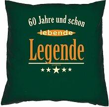 Kissenbezug - 60 Jahre und schon lebende Legende - zum 60. Geburtstag Geschenk - 40 x 40 cm - 100% Baumwolle in dunkel-grün : )