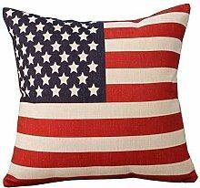 Kissenbezug Amerikanische Flagge USA Baumwolle Leinen Sofa Dekor 45x45cm