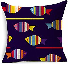 Kissenbezug bunte Fisch Baumwolle Leinen Kissen sofa Kissen auto kissenbezug Schwimm fenster kissen komfortable büroschlaf Kissen 45 * 45 cm