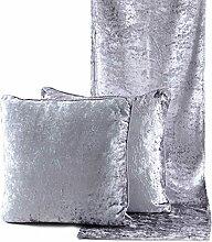 Kissenbezug, Dekokissen, Samt-Kissen 3er Set grau | knuellermarkt.de | Läufer, Tischläufer, Sofakissen, 40x40, kuschelig, weich, gemütlich, Zierkissen