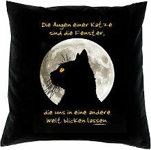 Kissenbezug - Die Augen einer Katze sind die Fenster in eine andere Welt - Kissen Bezug mit lustigem Spruch - Ideal als Geschenk zu Weihnachten für Leute mit Humor