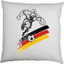 Kissenbezug - Fussballspieler schwarz-rot-gold -100 % Baumwolle in weiss mit 40x40cm