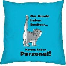 Kissenbezug Geschenke Hundefreunde Katzenfreunde 40 x 40 cm Katzen Hunde Deko Motiv aus dem Leben in hellblau : )