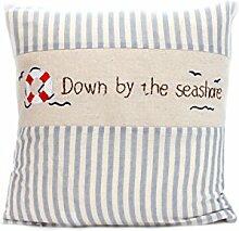 Kissenbezug Hilke 40x40cm Kissenhülle maritim rettungsring vintage Sommer Streifen blau weiß gestreift Leinen Leinenoptik Dekokissen