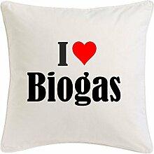 Kissenbezug I Love Biogas 40cmx40cm aus Mikrofaser