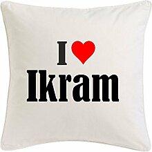 Kissenbezug I Love Ikram 40cmx40cm aus Mikrofaser