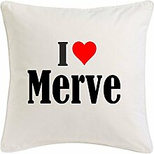Kissenbezug I Love Merve 40cmx40cm aus Mikrofaser