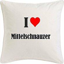 Kissenbezug I Love Mittelschnauzer 40cmx40cm aus
