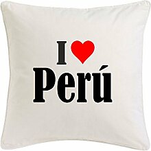 Kissenbezug I Love Perú 40cmx40cm aus Mikrofaser