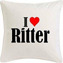 Kissenbezug I Love Ritter 40cmx40cm aus Mikrofaser