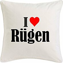 Kissenbezug I Love Rügen 40cmx40cm aus Mikrofaser