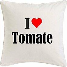 Kissenbezug I Love Tomate 40cmx40cm aus Mikrofaser