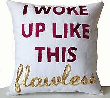 Kissenbezug in weiß Baumwolle mit Fuchsia Gold Stickerei–Handarbeit Kissen mit Lupenrein in Gold Pailletten bestickt–Geschenke für Ihren–Geburtstag Jahrestag Geschenk, baumwolle, weiß, 60 x 60 cm