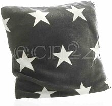 Kissenbezug mit Sternen aus Fleece 45x45cm dunkelgrau