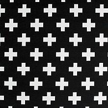 Kissenbezug Mo schwarz mit Kreuz in weiß