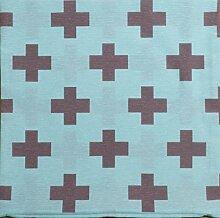 Kissenbezug Mo türkis mit Kreuz in anthrazit