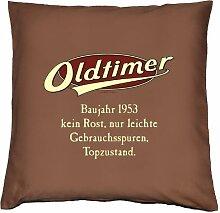 Kissenbezug - OLDTIMER BAUJAHR 1953 - kein Rost, nur leichte Gebrauchsspuren, Topzustand. - zum 61. Geburtstag Geschenk - 40 x 40 cm - 100% Baumwolle in schoco-braun :)