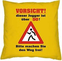 Kissenbezug - Vorsicht! Dieser Jogger ist über 50! Bitte machen Sie den Weg frei! - zum 50. Geburtstag Geschenk - 40 x 40 cm - 100% Baumwolle in gelb : )