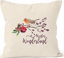 Kissenbezug Weihnachten Winterwonderland Vogel Rotkehlchen Blumen Misteln Christmas Bird Autiga® natur 40cm x 40cm