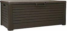 Kissenbox Kunststoff 550L Braun wasserdicht Auflagenbox Gartenbox Gartentruhe Aufbewahrungsbox