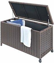 Kissenbox wasserdicht Polyrattan 270L Braun Auflagenbox Gartenbox Gartentruhe Aufbewahrungsbox