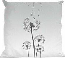 Kissenhülle Dandelion grey - tolles Motivkissen - gardinen-for-life Collection (40 x 40 cm) Kissenbezug, Sofakissen