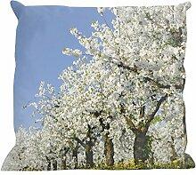 Kissenhülle Frühlingsbäume - tolles Motivkissen - gardinen-for-life Collection (40 x 40 cm) Kissenbezug, Sofakissen