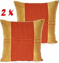 Kissenhülle, Hussen für Zuhause, Sofa, Sofa, Diwan, Stuhl, deckt Kopfkissen aus Seide von Thailand, 45 x 45 cm, Pack 2 Orange