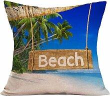 Kissenhülle Kissenbezug Jamicy® Sommer Strand Sofabett Ausgangsdekoration für Dekokissen Sofakissen Cocktailkissen Kopfkissen 43cm*43cm (S)