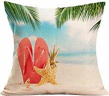 Kissenhülle Kissenbezug Jamicy® Sommer Strand Sofabett Ausgangsdekoration für Dekokissen Sofakissen Cocktailkissen Kopfkissen 43cm*43cm (D)